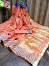 Peach color soft assam silk saree with embroidery work