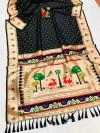 Black color soft lichi silk saree with weaving work