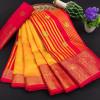 Yellow color soft cotton silk saree with rich pallu