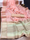 Baby pink color organza silk saree with woven work