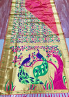 Peach color soft kanchipuram silk saree with zari weaving pallu