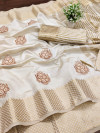 Off White color assam silk saree with embroidery work