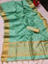 Sea green color assam silk saree with bandhani print