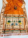 Orange color soft lichi silk saree with weaving work