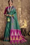 Rama green color raw silk saree with zari weaving work
