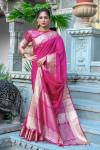 Pink color tussar silk saree with zari weaving border