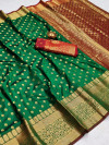 Green color soft banarasi silk saree with zari woven rich pallu and border