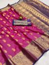 Rani pink color soft banarasi silk saree with golden zari work