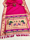Pink color soft lichi silk saree with weaving work