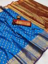 Firoji color soft banarasi silk saree with zari woven rich pallu and border