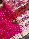 Pink color paithani silk saree with weaving work