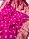 Pink color cotton silk saree with zari weaving work