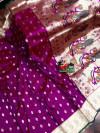 Magenta color paithani silk saree with weaving work