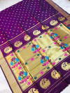 Magenta color kanchipuram silk saree with golden zari weaving work