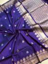 Purple color kanchipuram silk saree with zari work in purple color