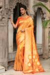 Orange color pure banarasi silk saree with zari and meenakari work