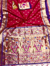 Dark pink color paithani silk saree with weaving work