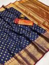 Navy blue color soft banarasi silk saree with zari woven rich pallu and border