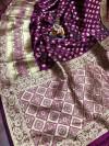 Magenta color banarasi silk saree with golden zari weaving work