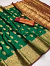 Green color soft banarasi silk saree with golden zari work