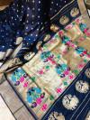 Navy blue color kanchipuram silk saree with golden zari weaving work
