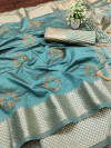 Rama green color assam silk saree with embroidery work