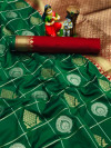 Green color soft silk saree with golden & silver zari weaving work