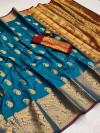 Dark firoji color soft banarasi silk saree with golden zari work