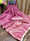 Baby pink color cotton silk saree with embroidery work