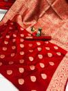 Red color soft banarasi silk saree with weaving work