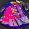 Rani pink color soft cotton silk saree with rich pallu