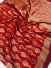 Red color soft banarasi silk saree with zari weaving work