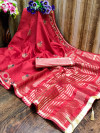 Red color cotton silk saree with embroidery work