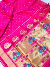 Rani pink color soft kanchipuram silk saree with golden zari weaving work