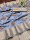 Gray color assam silk saree with embroidery work