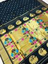 Black color kanchipuram silk saree with golden zari weaving work