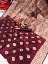 Maroon color soft banarasi silk saree with weaving work