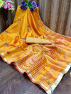 Yellow color cotton silk saree with embroidery work