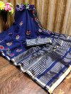 Navy blue color cotton silk saree with embroidery work