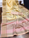 Yellow color organza silk saree with woven work