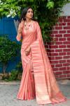 Pink color tussar silk weaving saree with ikat woven border