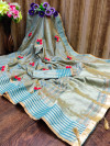 Rama green color soft assam silk saree with embroidery work