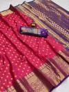 Pink color soft banarasi silk saree with zari woven rich pallu and border