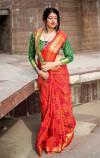 Red color Banarasi silk weaving Patola saree