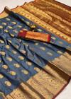 Gray color soft banarasi silk saree with golden zari work