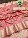 Peach color assam silk saree with embroidery work