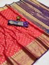Gajari color soft banarasi silk saree with zari woven rich pallu and border