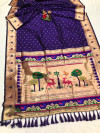 Purple color soft lichi silk saree with weaving work