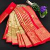 Beige color soft cotton silk saree with rich pallu