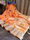 Dark peach color soft assam silk saree with embroidery work